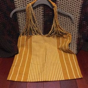 Golden yellow crisscrossed striped tote